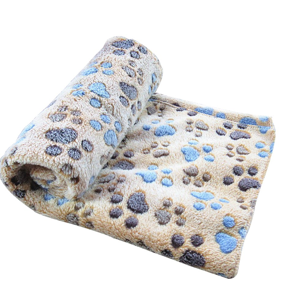 Guardians 30 X 20.5 Inches Ultra Soft Thin Fleece Paw Print Pet Blanket Dog Puppy Cat Mat for Bed Sofa Kennel Cover Kitten Blanket