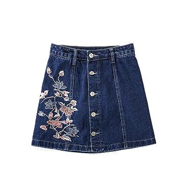9759d83797 Goooodtrry Femme Jupe Crayon Courte Taille Haute en Jean Mini Jupe Slim  Boutonnée Devant Brodée (