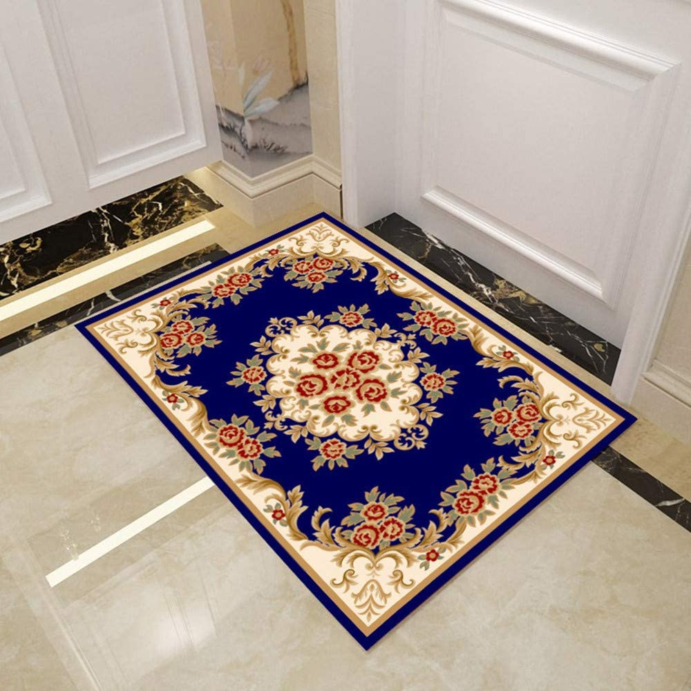 """XIYUAN mats/Outdoor Floor mats for entryway/Floral Welcome Front Door Mat with Anti-Slip Rubber Back, Absorbent Rug of 32""""×20"""" for House Inside Outside Door Carpet (Blue)"""