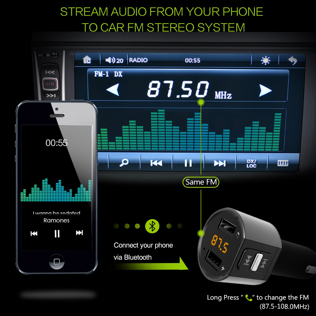 Wireless In-Car Radio Transmitter ORIA Bluetooth FM Transmitter Hands Free Calling Universal Car Charger with Dual USB Charging Ports TF Card Support for Cellphone Great Present Gift for Friends 4326596349