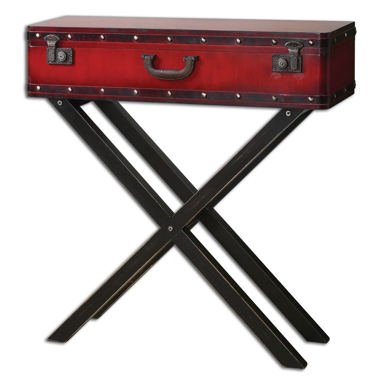 Amazoncom Red Trunk Storage Console Table Antiqued Suitcase