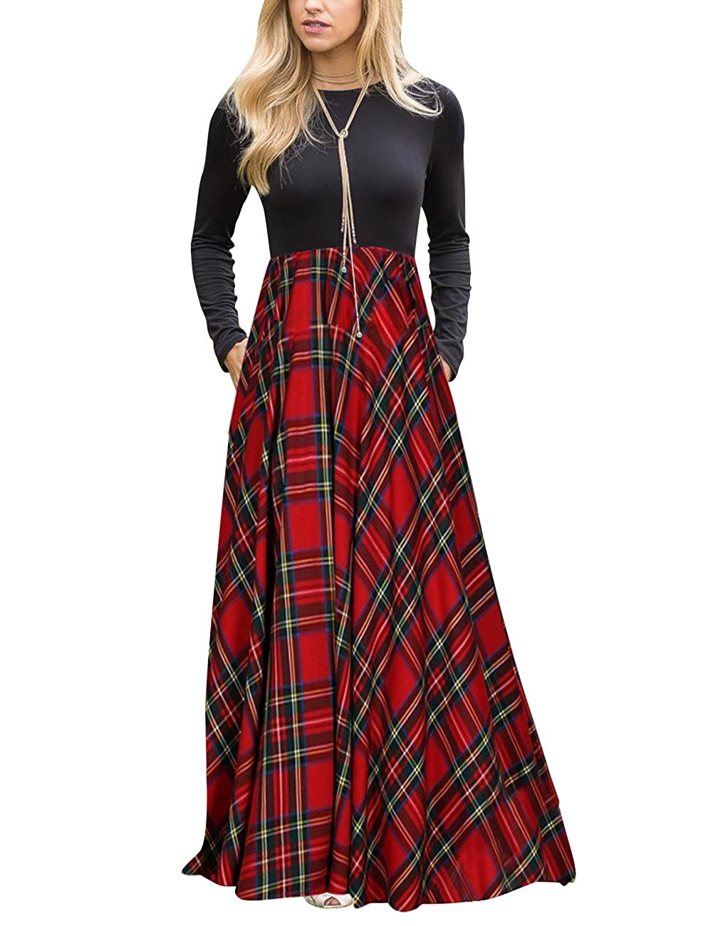 c0b356f146b8 MEROKEETY Women s Plaid Long Sleeve Empire Waist Full Length Maxi Dress  with Pockets at Amazon Women s Clothing store