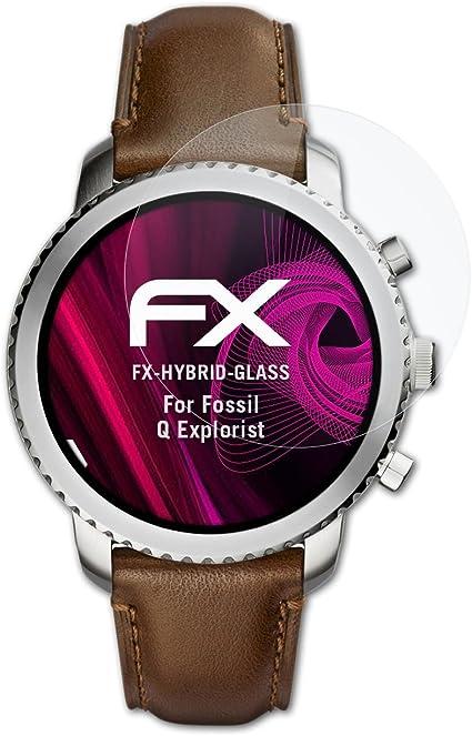 atFoliX Lámina Protectora de plástico Cristal para Fossil Q ...