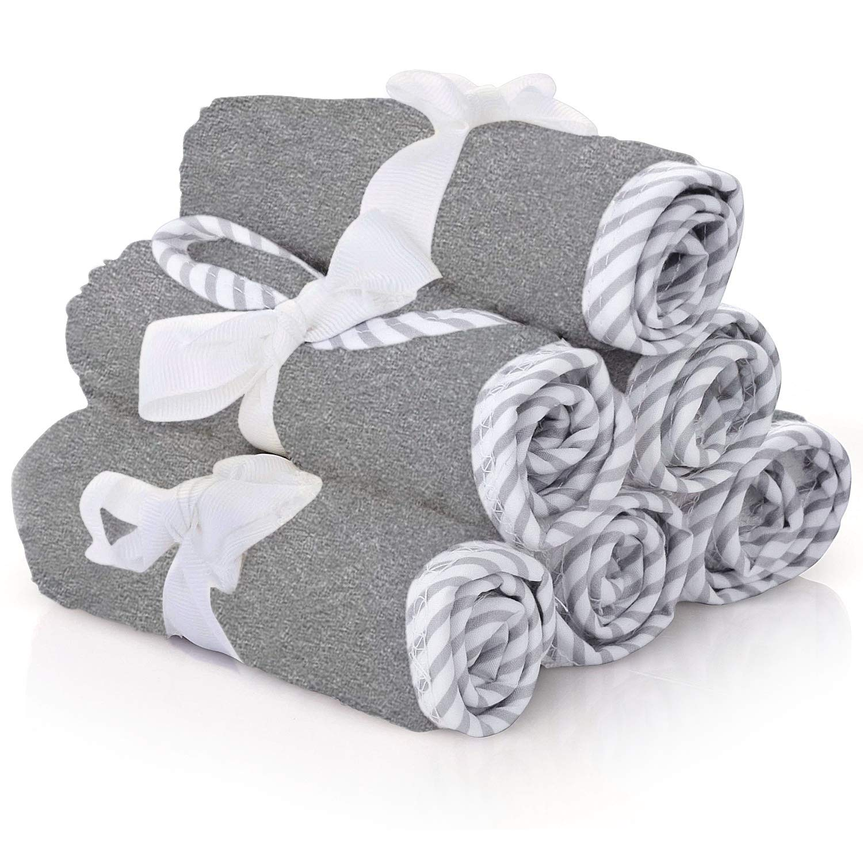 Premium Baby Washcloths – 100% Bamboo Gray Baby Washcloth Set of 6