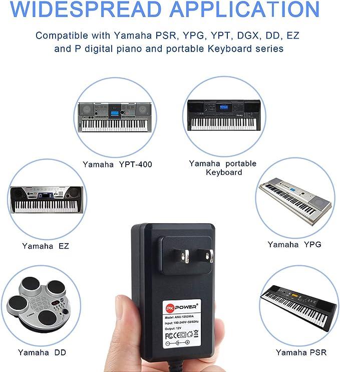 PK Power - Cargador de Fuente de alimentación para Yamaha EZ, DD, YPG, DGX, YPT y Teclado portátil y Piano Digital P (PA130 PSR-E403 EZ-AG)