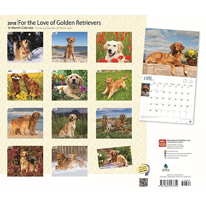 Amazon For The Love Of Golden Retrievers 2018 Deluxe Wall