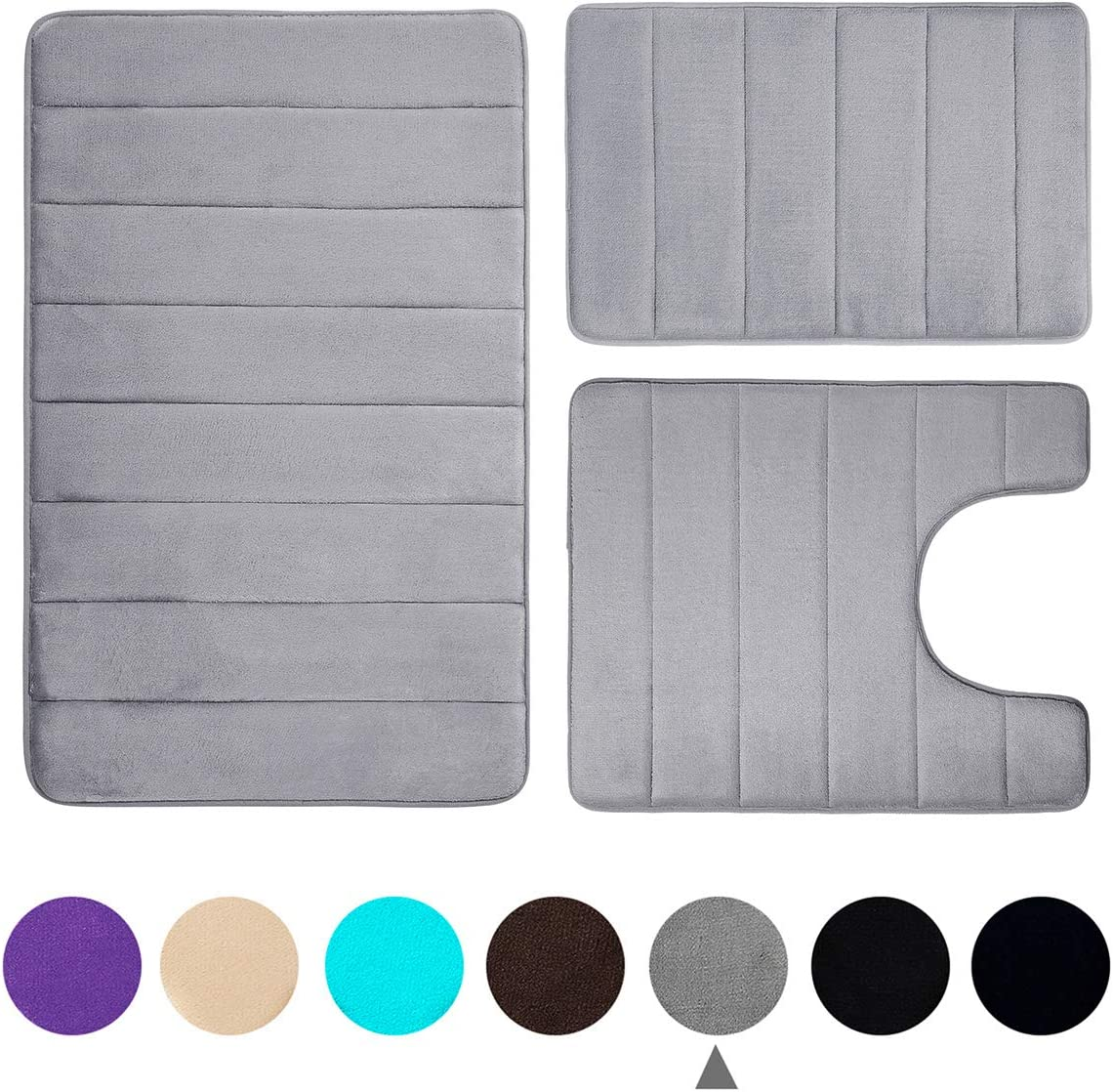 Buganda Memory Foam 3 Pieces Bathroom Rugs Set - Thick Soft Absorbent Non-Slip Bath Mats, Washable Small/Large/Contour Bath Rugs, Grey