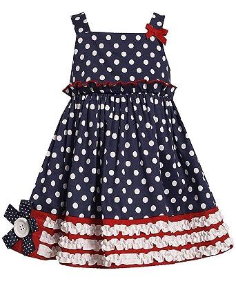 99538680e37c Amazon.com  Bonnie Jean Little Girls 2T-6x Navy White Polka Dot Flag ...