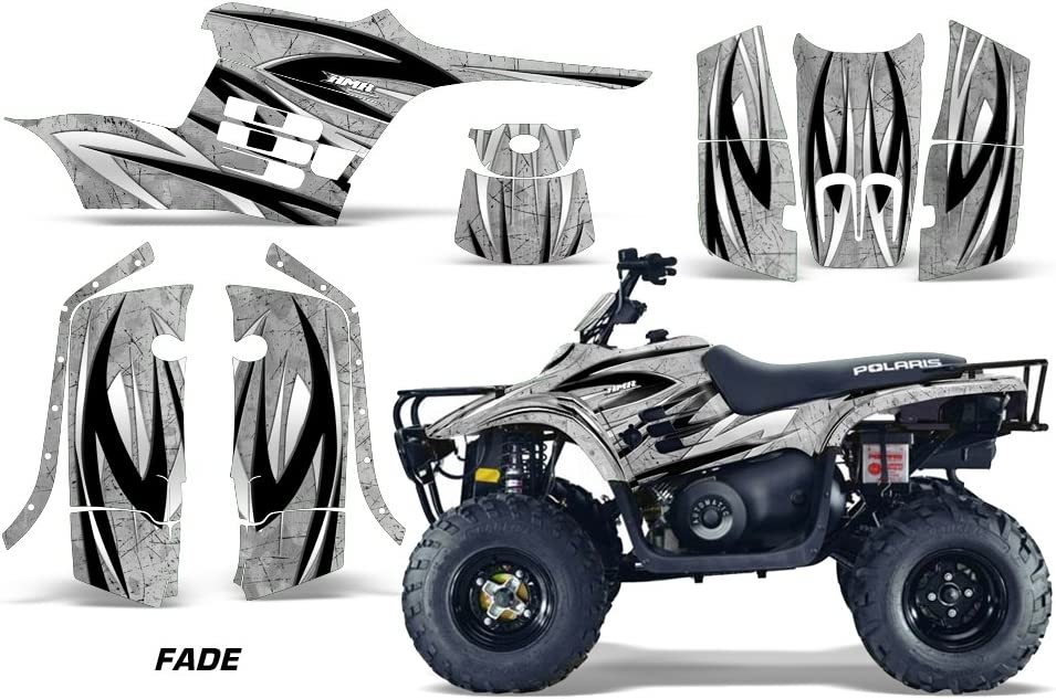 Fade Silver AMR Racing ATV Graphics kit Sticker Decal Compatible with Polaris Trail Boss 330 2004-2009