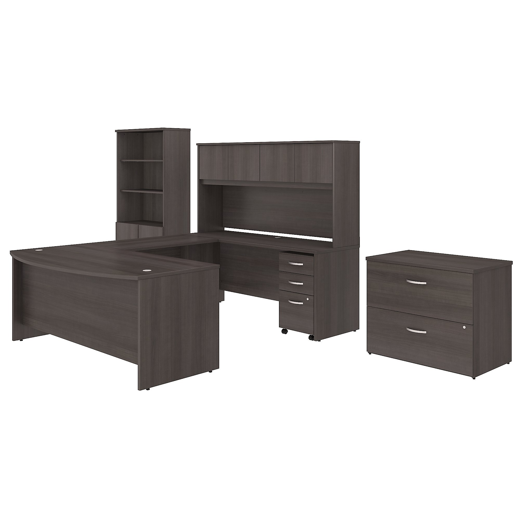 Studio C 72W x 36D U Shaped Desk with Hutch, Bookcase and File Cabinets in Storm Gray by Bush Business Furniture