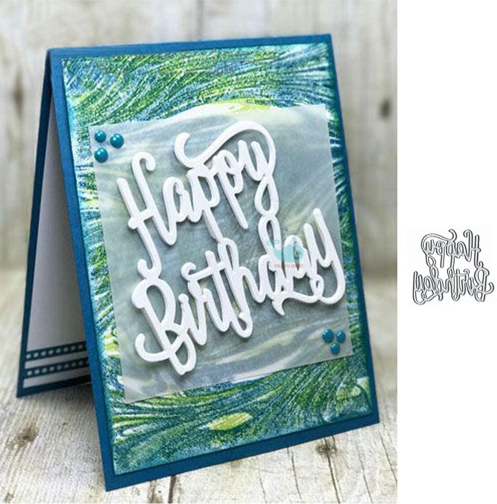 Happy Birthday Letter Metal Die Cuts,Word Birthday Party Invitation Cutting Dies Cut Stencils DIY Scrapbooking Album Decorative Embossing Paper Dies for Card Making
