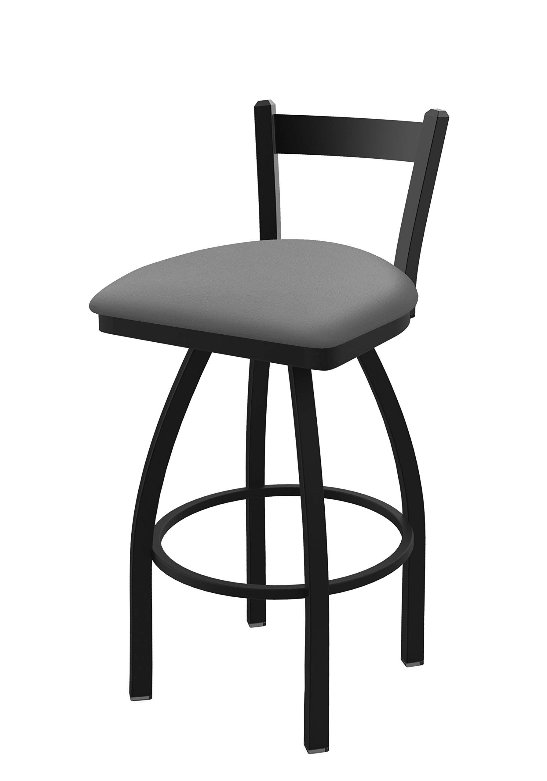 Holland Bar Stool Co. 82125BW007 821 Catalina 25'' Low Back Swivel Counter Black Wrinkle Finish and Canter Folkstone Grey Seat Bar Stool