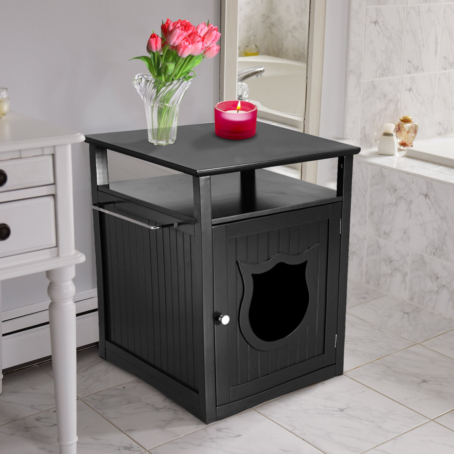 Nightstand Pet House, Litter Box Furniture Indoor Pet Crate, Litter Box Enclosure, Cat Washroom, Black,
