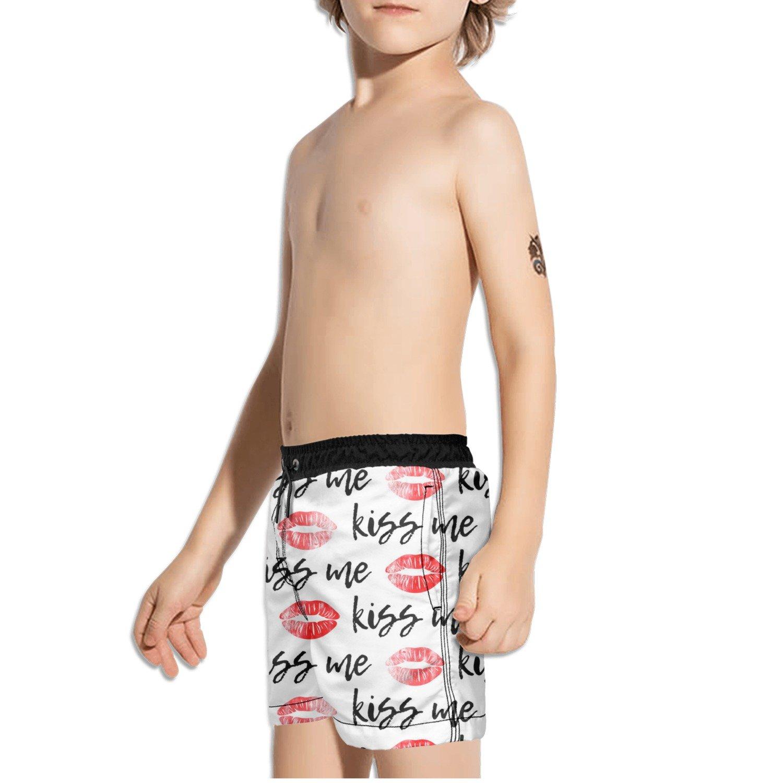 FullBo Kiss Me Red Lips Little Boys Short Swim Trunks Quick Dry Beach Shorts
