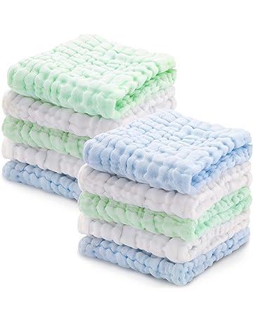LIUNIAN 10 PACKS Toallitas para bebé de muselina, Toallitas de algodón 100% naturales para