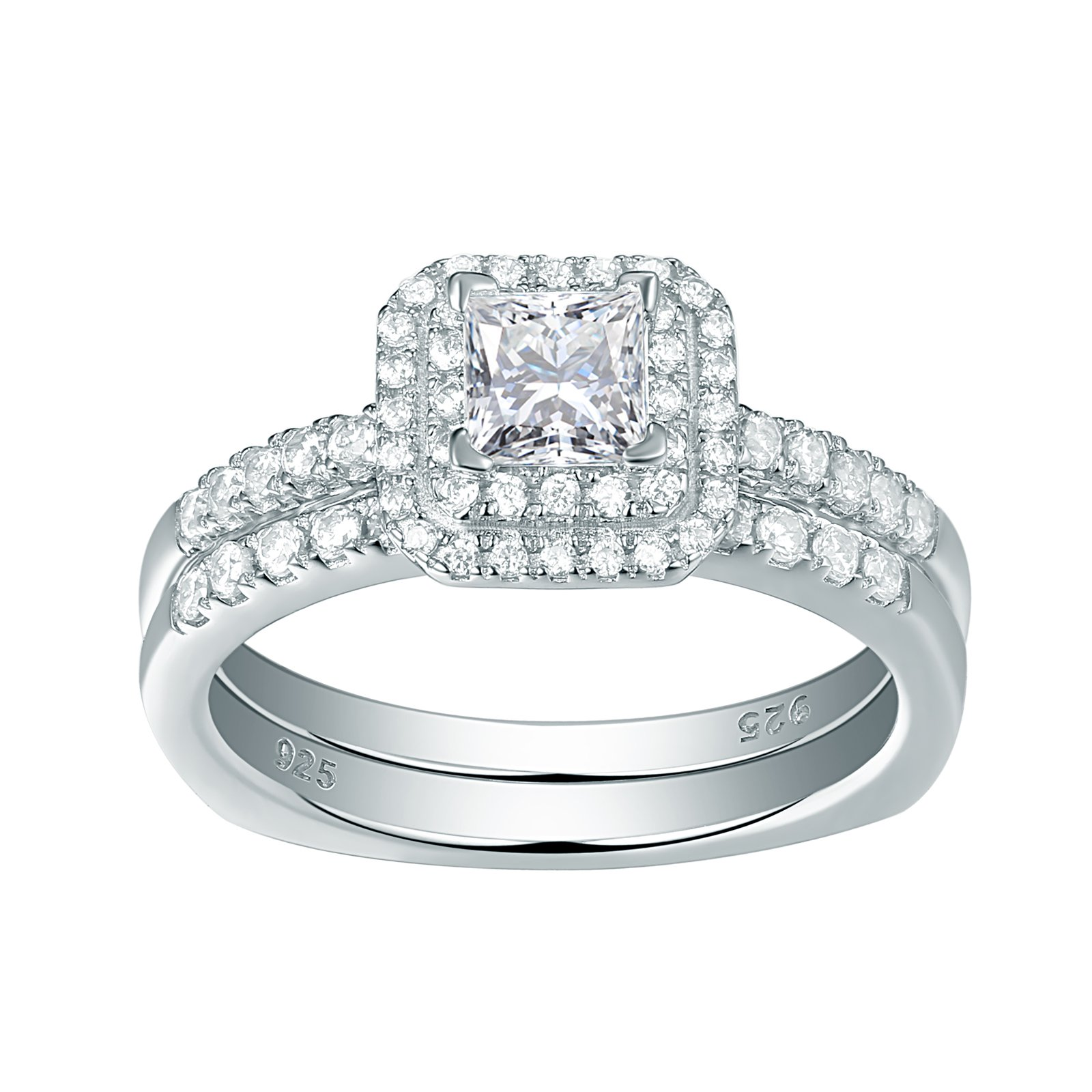 Newshe Jewellery Cz Wedding Rings for Women Engagement Bridal Set Sterling Silver 1.1ct Princess Size 5