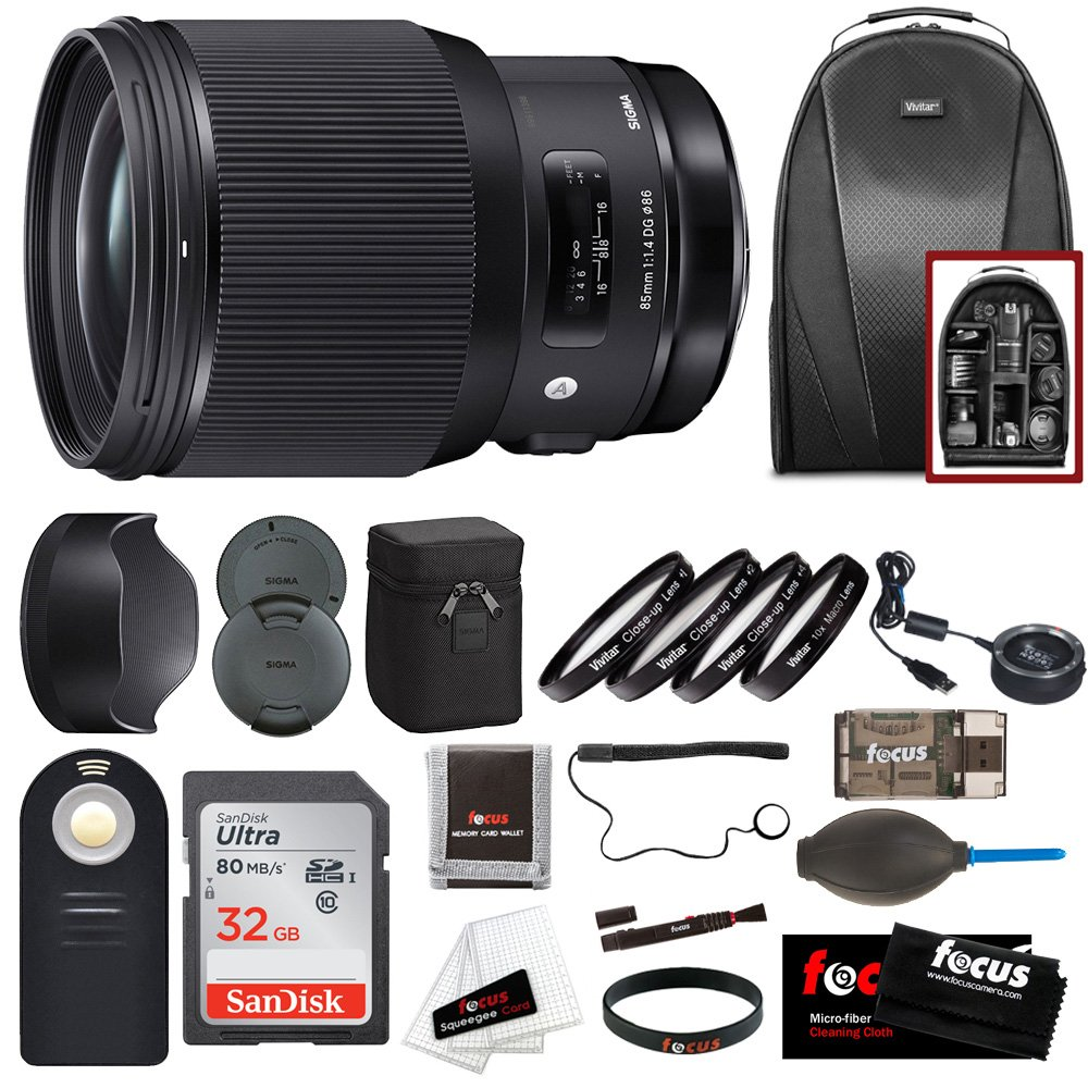 Sigma 85mm f/1.4 DG HSM Art Lens for Canon EF w/ 32GB SD Card + Holiday Promotional Bundle