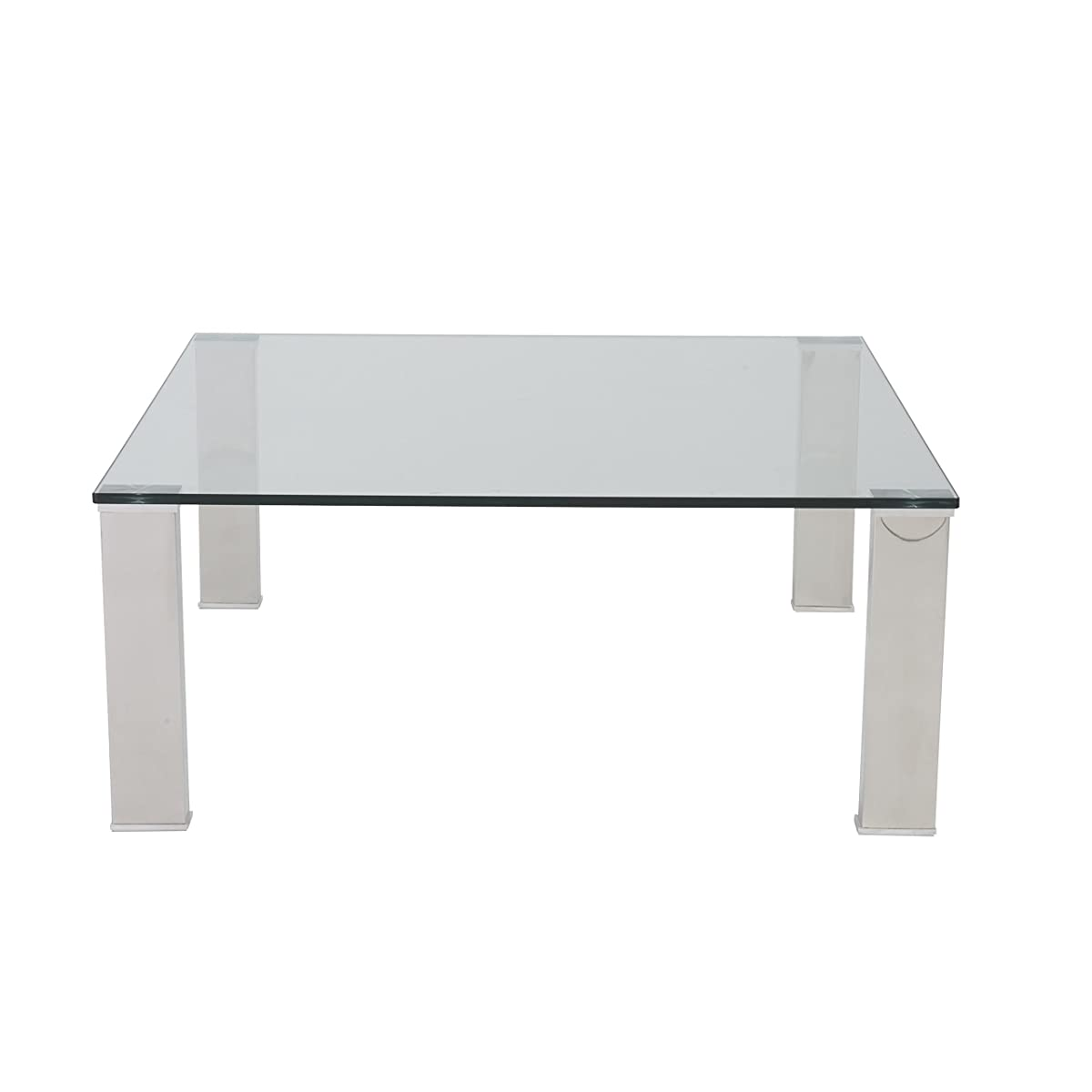 Eurø Style Beth Clear Glass Top Polished Stainless Steel Square Coffee Table