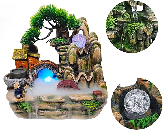 YOGANHJAT Fuente de Agua Decorativa de Interior, Resina con Cambio Color Iluminación Led Fuentes de Agua Decorativas Interior Fuente para Jardines silenciosa Decoración Office: Amazon.es: Hogar