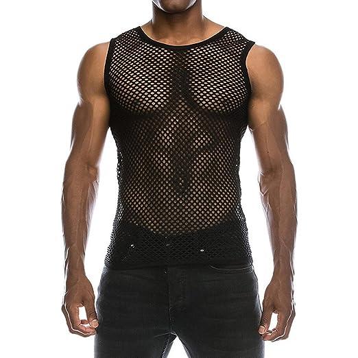 891366e806c47 Amazon.com  Men s Mesh See-Through Tank Top Vest  Clothing