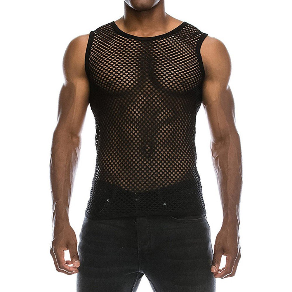 Pitauce Tops Tee for Men Men's Mesh-Back Panel Sleeveless Muscle Tank Fitted Muscle Top Tee Shirts for Men Black