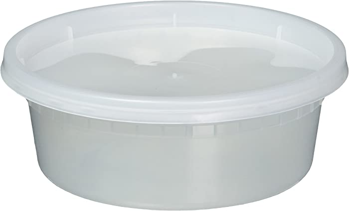 EDI D08050 Deli Food Storage Containers with Lids 50 Sets (8oz), Clear