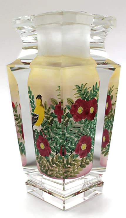 Amazon Yellow Canary Bird Hand Painted Crystal Flower Vase