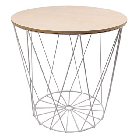 Design side table white metal wire basket with lid black 40 cm design side table white metal wire basket with lid black 40 cm white greentooth Images