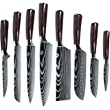 ZENG Professional Kitchen Chef Knife Set, Japanese 8 PCS German High Carbon stainless Steel Ultra Sharp Knives Sets with Shea