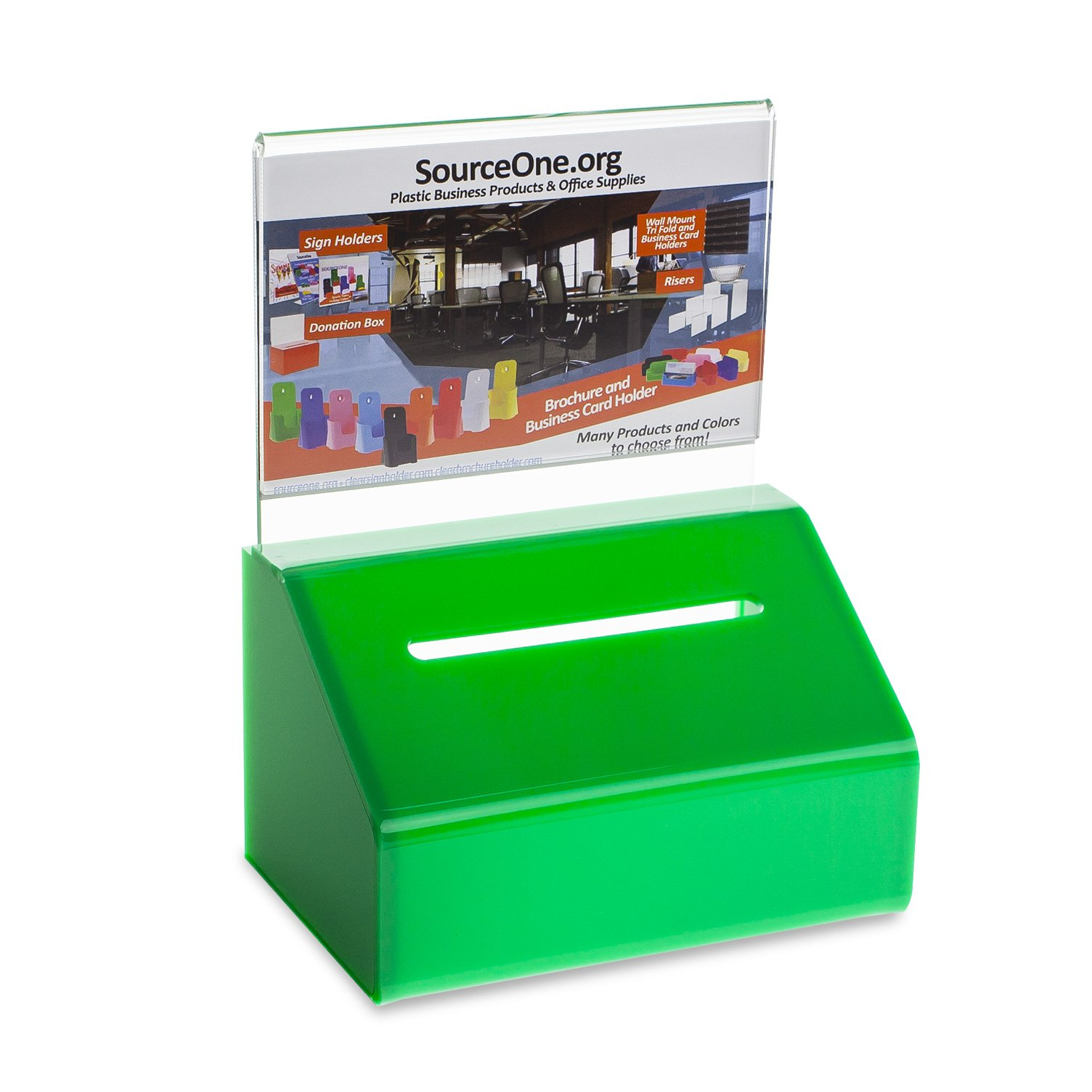Source One GREEN Heavy Duty Small Donation/Ballot Box with Lock and Sign Holder 5 Inch Wide