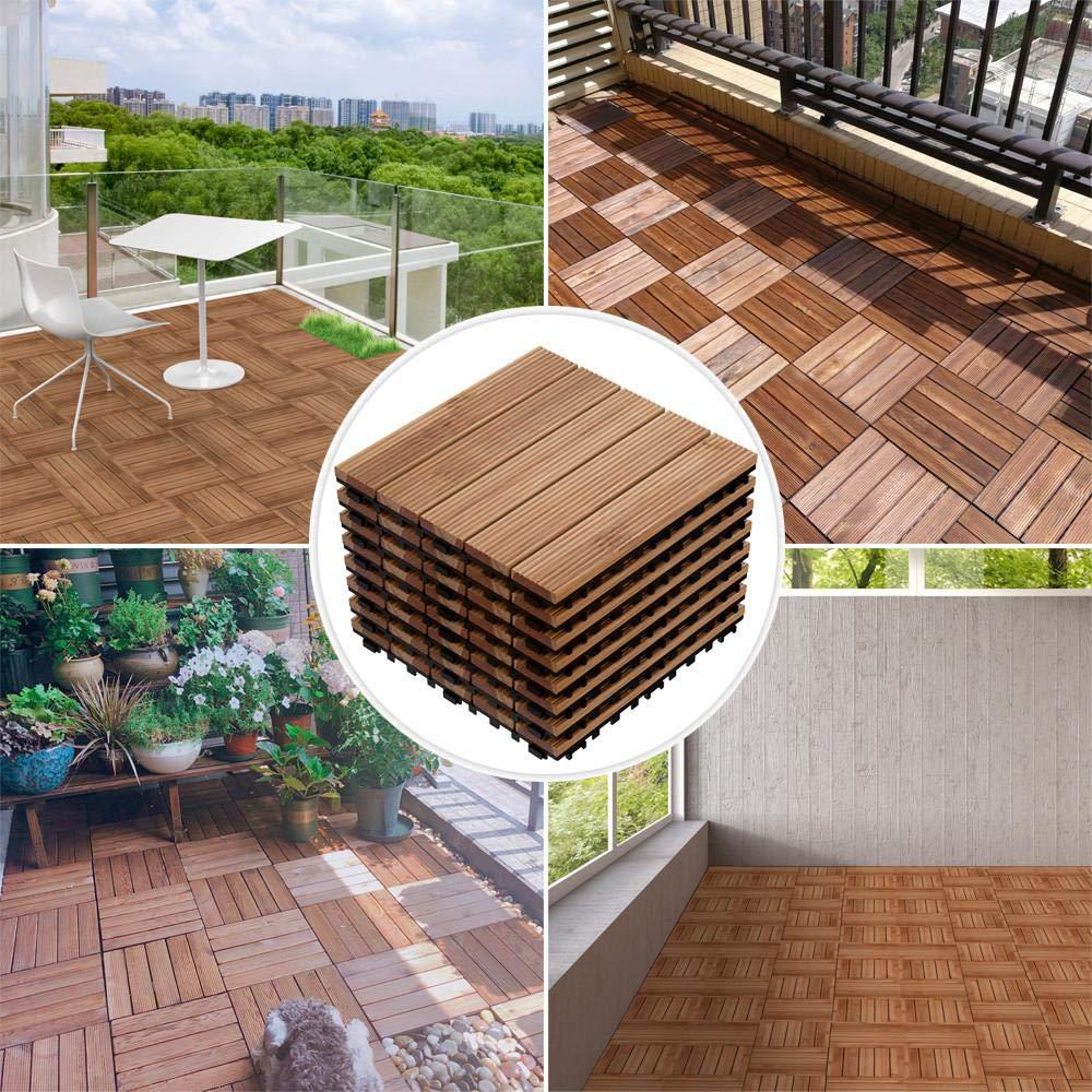 Yaheetech 12 x 12/'/' Patio Pavers Decking Flooring Deck Tiles Interlocking Wood Patio Tiles 11 Pack Tiles Patio Garden Deck Poolside Indoor Outdoor