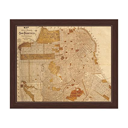 Amazoncom Antiqued Distressed City And County of San Francisco Map