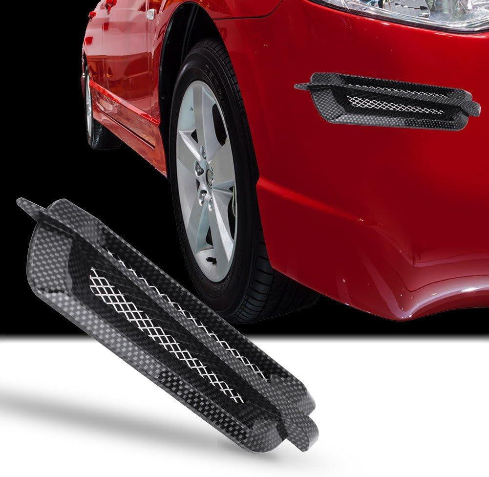 carbon fiber 2Pcs Universal Car Side Air Flow Vent Fender Cover,Keenso Intake Grille Duct Decoration Sticker