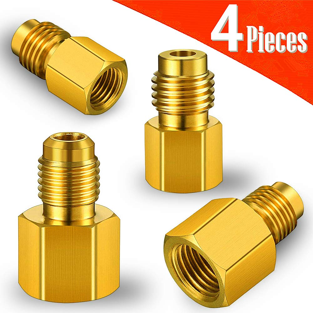 "4 Pieces 6014 Vacuum Pump Adapter 1/4 Inch Flare Female to 1/2 Inch Acme Male and 6015 R134A Brass Refrigerant Tank Adapter to R12 Fitting Adapter 1/2""Female Acme to 1/4""Male Flare Adaptor Valve Core"