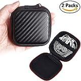 Sunerly 2Pack Portable PU zipper auricolare custodia di trasporto e cuffie per MP3auricolari e cavo USB, mini Square Storage Bag per MP3/MP4cuffie Bluetooth e piccoli oggetti