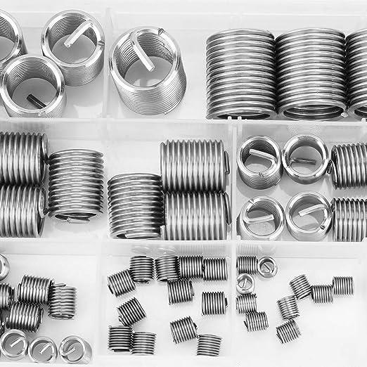 80 piezas M3-M14 Acero inoxidable SS304 Alambre en espiral Tornillo helicoidal Insertos de rosca Inserto de reparaci/ón de hilo de clavo Inserto helicoidal