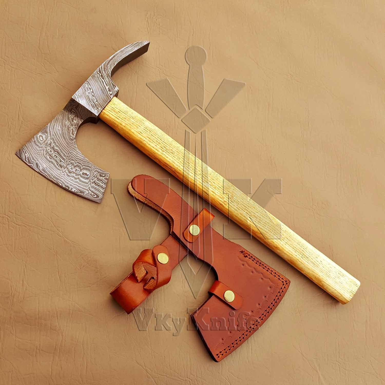 Vky Knife Handmade Damascus Steel Axe Hatchet Tomahawk Knife - 18 Inches AXE Olive Wood Handle VK8524