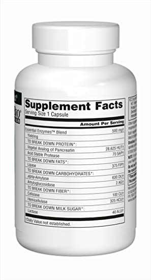 Source Naturals Essential Enzymes 500mg, Full spectrum ...