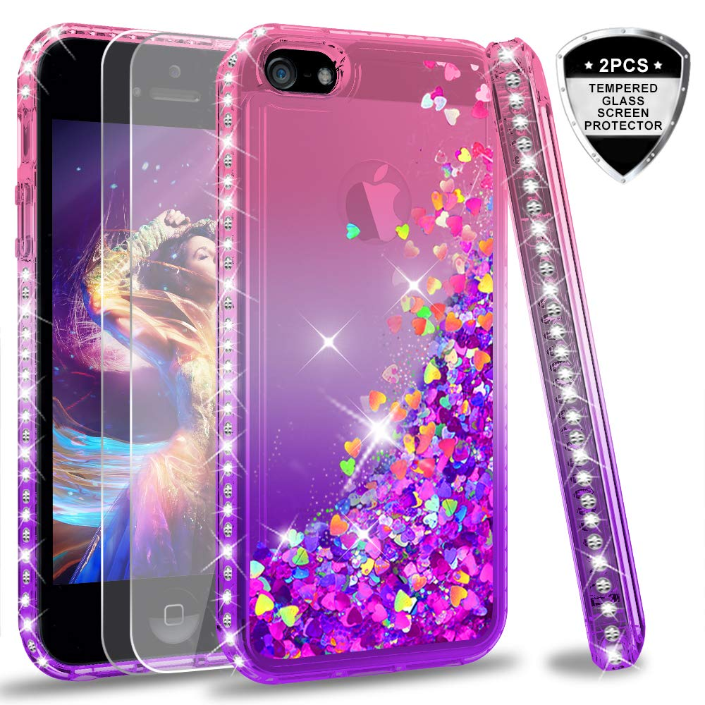 iPhone 5S Case, iPhone SE Case with [2 Pack] Tempered Glass Screen Protector for Girls Women, LeYi Glitter Bling Liquid Quicksand TPU Protective Phone Case for iPhone 5 ZX Gradient Pink/Purple