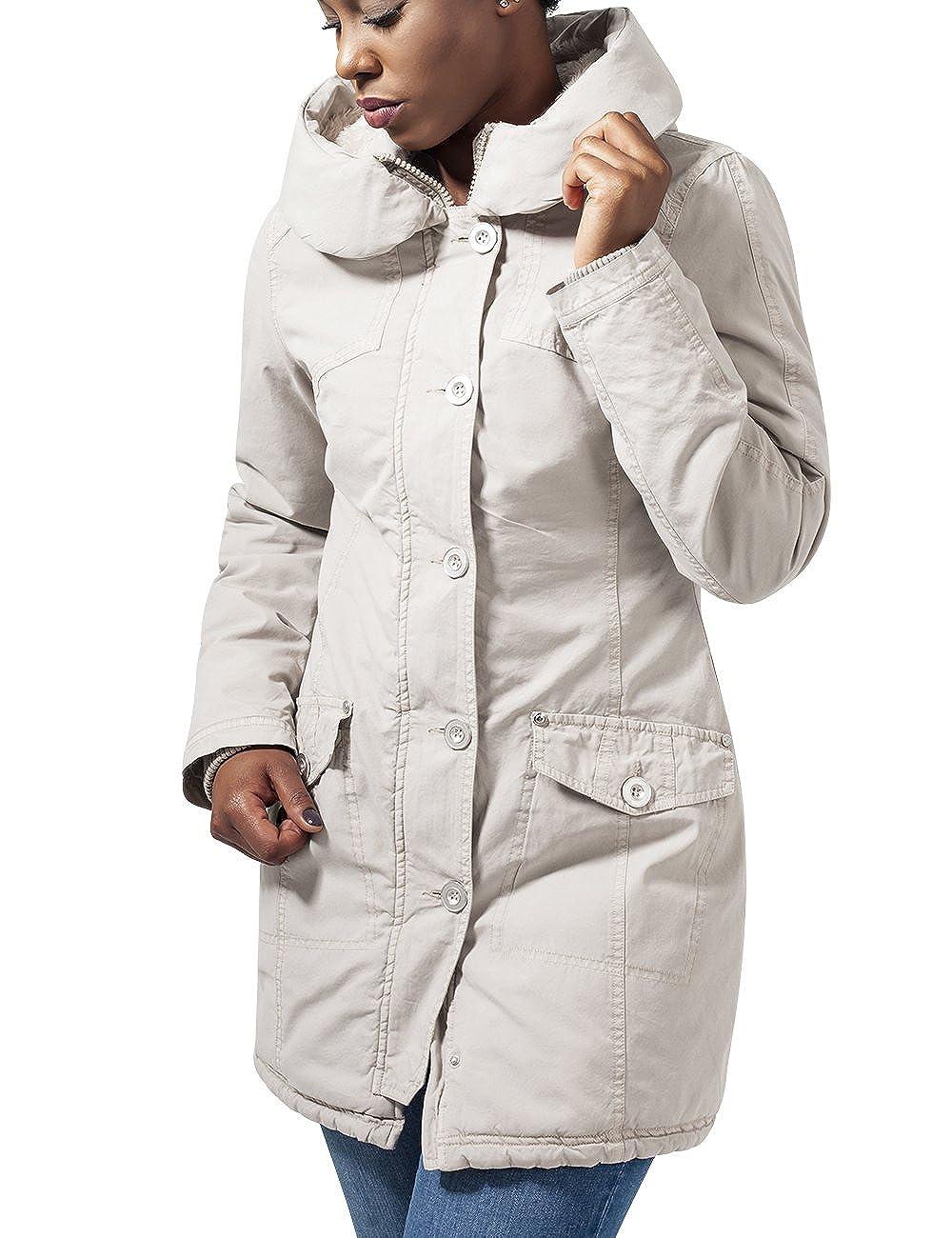 TALLA L. Urban Classics Ladies Garment Washed Long Parka Chaqueta para Mujer