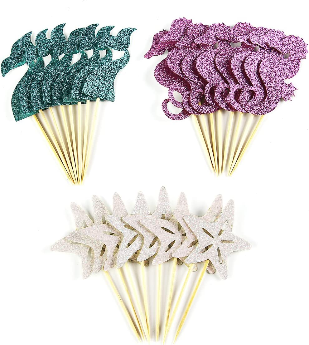 Partico 24 Pieces Mermaid Theme Glitter Cupcake Topper Cake Picks Decoration for Baby Shower Birthday Party Favors, Mermaid Tail, Seahorse and Starfish Food Picks