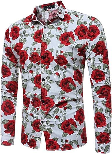 Aiweijia Estilo de los Hombres Imprimir Manga Larga Ocio Camisa Corte Ajustado Flor Camisa: Amazon.es: Ropa y accesorios