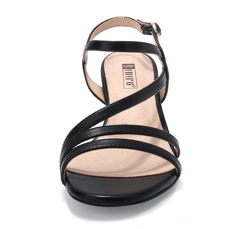 IDIFU Womens Low Kitten Heels Sandals Ankle Strap Open Toe Wedding Pump Shoes with Zipper