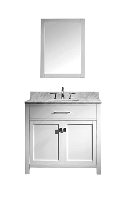 Virtu USA MS 2036 WMSQ WH Caroline 36 Inch Bathroom Vanity With