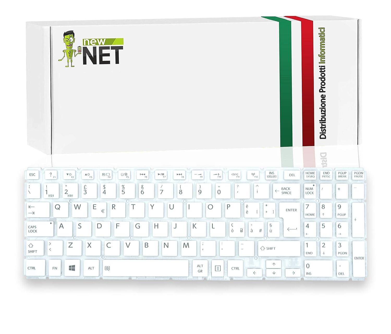 New Net Keyboards - Teclado Italiano Compatible con Toshiba AEBLII00020 MP-13R86I0-9201 132800018 9Z.NBCSQ.00E 9Z.NBCSQ.00F 9Z.NBCSQ.10U NSK-V91SQ AEBLII00120 (sin Marco), Color Blanco: Amazon.es: Electrónica
