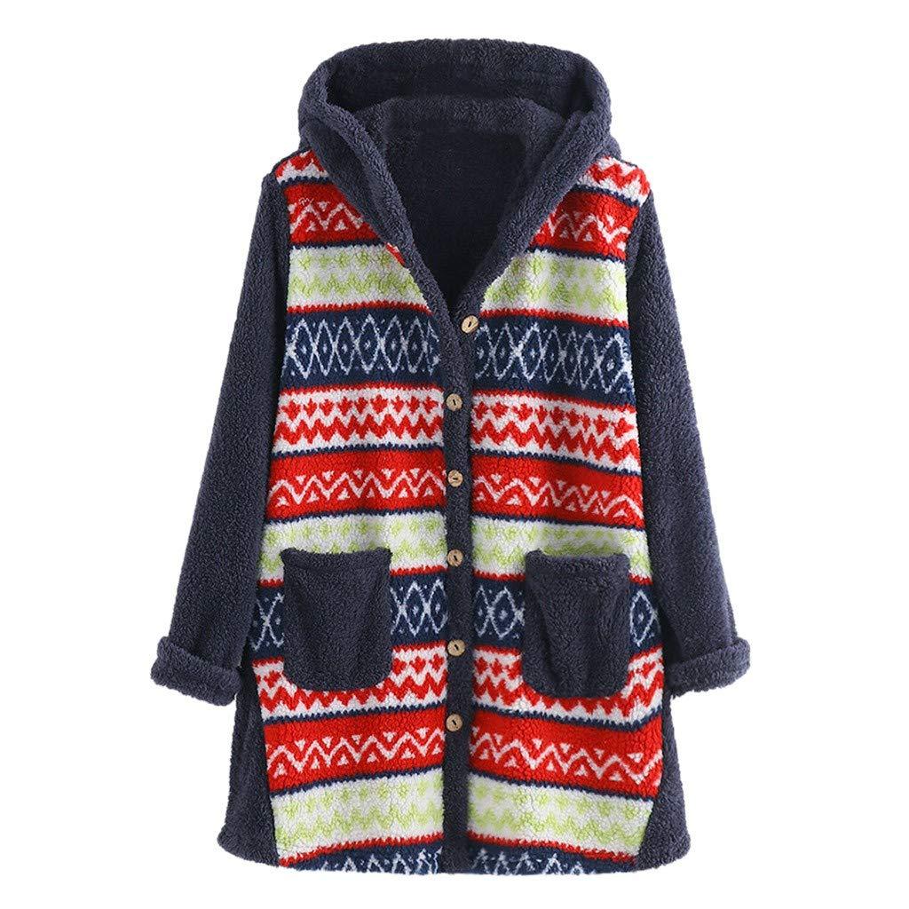 Kiminana Women's Print Hooded Jacket Wool Top Hooded Pullover Sweater Blusas de Mujer de Moda 2019 Verano Trendy Blazer Blue by Kiminana