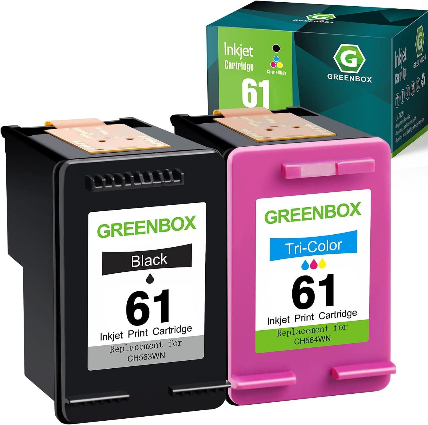 GREENBOX Remanufactured Ink Cartridge 61 Replacement for HP 61 61 for Envy 4500 5530 5535 Deskjet 1000 1056 1510 1512 1010 1055 2540 2542 3050 3510 Officejet 2620 (1 Black 1 Tri-Color)