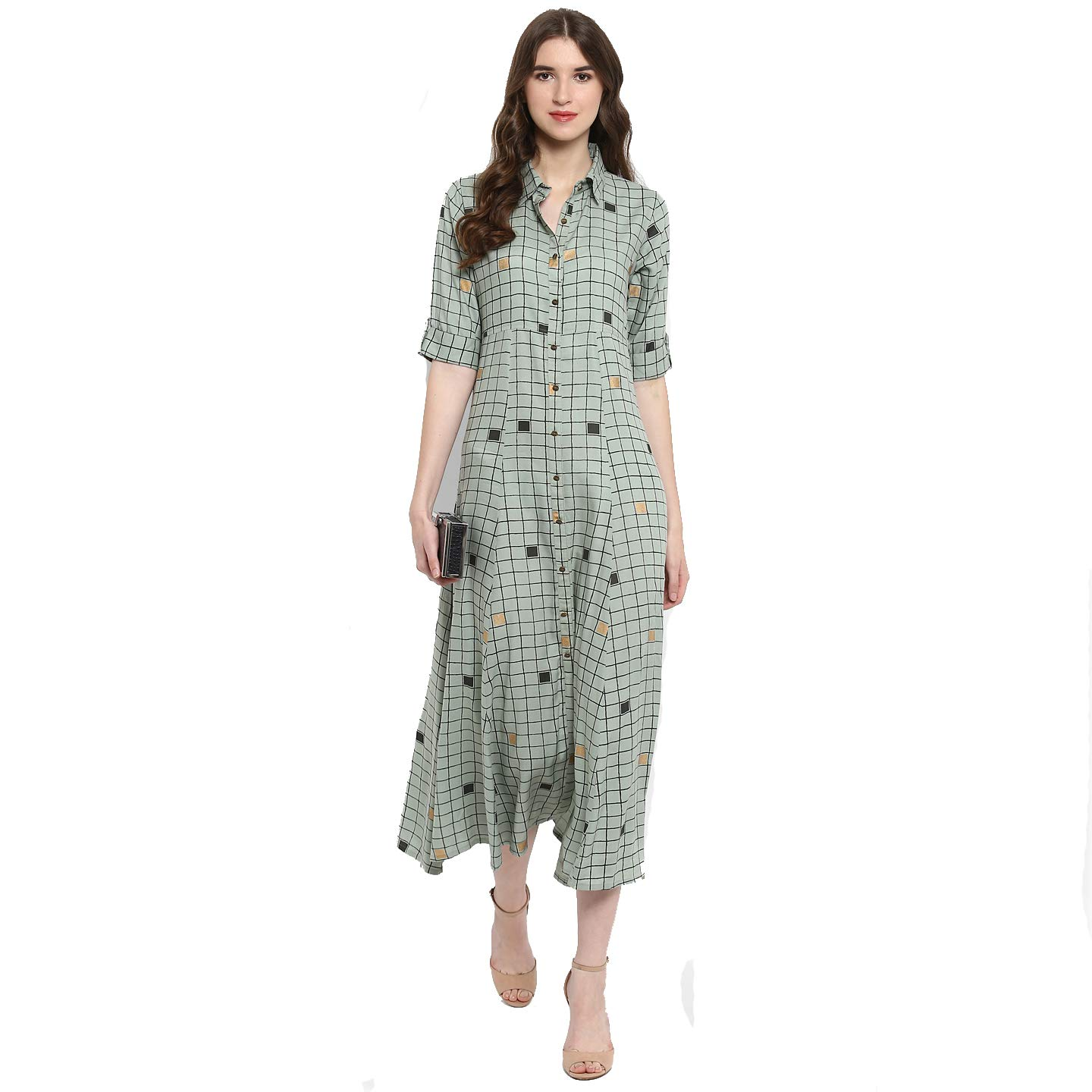 7e73c00c59d0 Varanga Taupe Checks Printed Flared Dress KFF-VAR218647 DR  Amazon ...