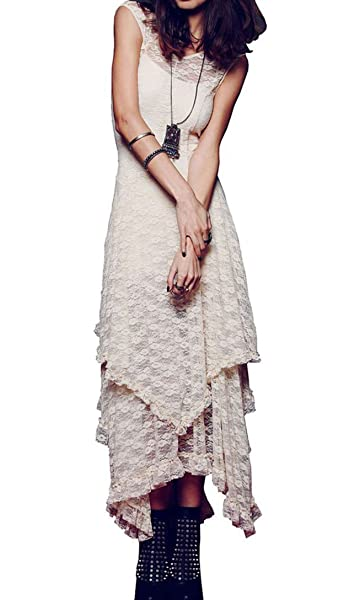 ca2d0e908b23 R.Vivimos Womens Sleeveless Backless Asymmetrical Layered Lace Long Dress  with Slip Two Pieces (Small, Beige) at Amazon Women's Clothing store: