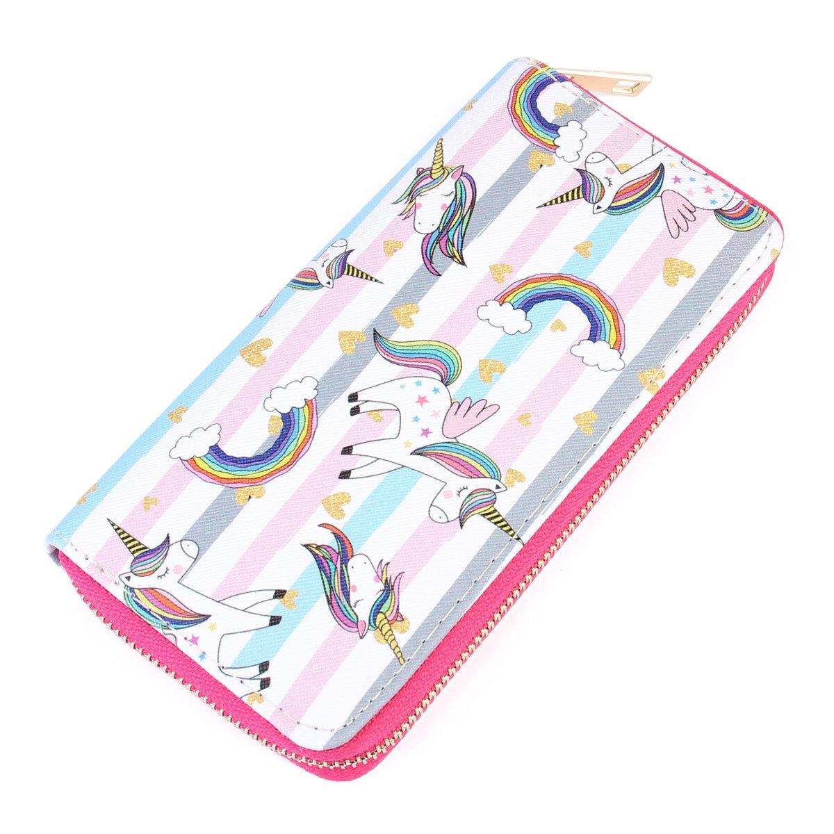 Riah Fashion Women's Cute Rainbow Unicorn Print Wallet (Style 3)